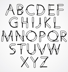Funny constructive black and white font rounded vector