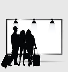 girl and man front billboard silhouette vector image
