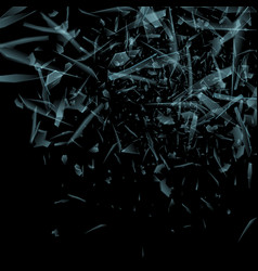 Glass explosion concept isolated on black vector