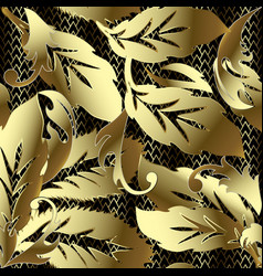 gold baroque ornate 3d seamless pattern leafy vector image