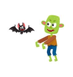 halloween monsters - green zombie and vampire bat vector image