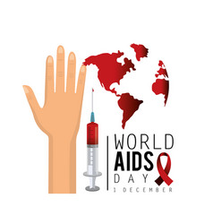 Hand and syringe with blood to aids day vector