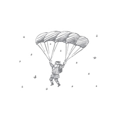 Hand drawn santa claus flying down on parachute vector