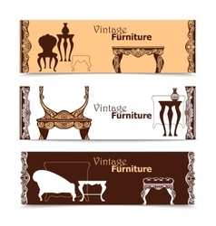 Hand Drawn Vintage Furniture Horizontal Banners vector image