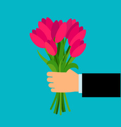 Hand holding pink tulip flowers bouquet vector