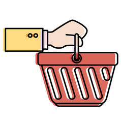hand human with shopping basket isolated icon vector image