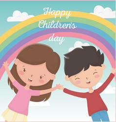 happy childrens day boy and girl smiling rainbow vector image