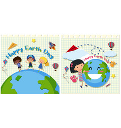 Happy earth day with kids on earth vector