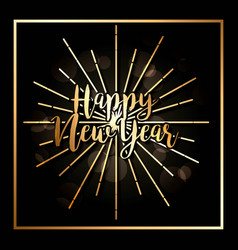 happy new year poster dark glowing background vector image