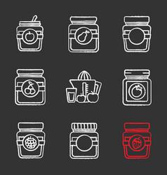 homemade preserves chalk icons set vector image