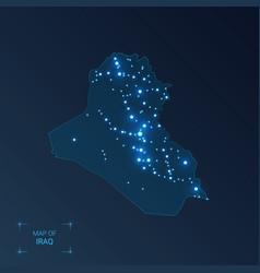 Iraq map with cities luminous dots - neon lights vector