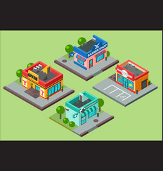 isometric city buildings kiosk convenience vector image