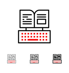 Key keyboard book facebook bold and thin black vector