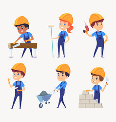 Kids builders childrens job in helmet little vector