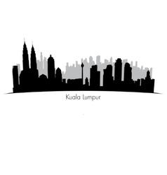 Kuala Lumpur skyline Black silhouette vector image