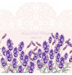 Lavender Card with flowers vector image