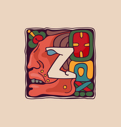 Letter z logo in aztec mayan or incas style vector