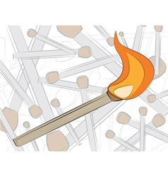 match in fire drawing vector image