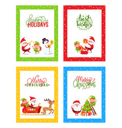 merry christmas cards with cartoon characters set vector image