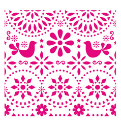 mexican folk art pattern with birds and flo vector image
