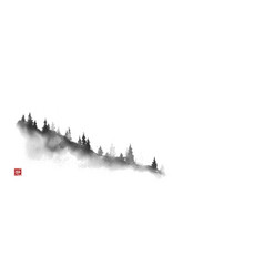 Mountain slope with pine trees traditional vector