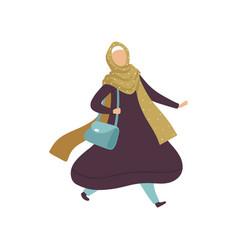 Muslim woman walking with bag modern arab girl in vector