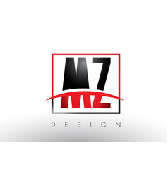 Mz m z logo letters with red and black colors and vector
