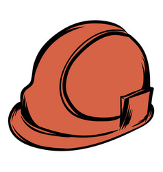 Orange safety helmet icon cartoon vector
