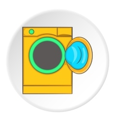 Orange washing machine icon cartoon style vector