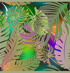 palm leaves tropical green seamless pattern vector image