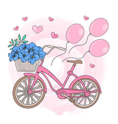 party bicycle valentines day s vector image