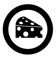 Piece cheese black icon in circle vector