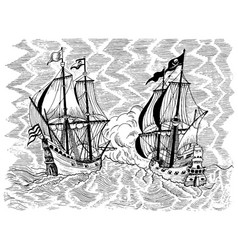 pirates ships battle vector image