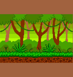 pixel art jungle seamless background detailed vector image