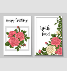 postcard coral roses hand drawing vector image