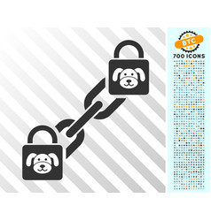 Puppy blockchain flat icon with bonus vector
