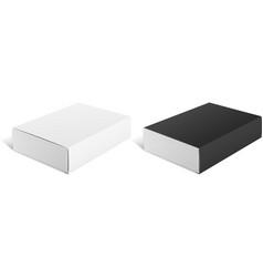 Realistic package cardboard sliding box black vector