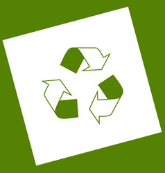 recycle logo concept white icon obtained vector image