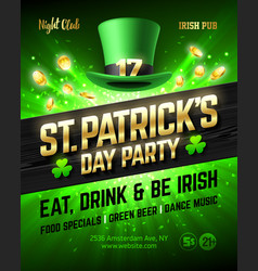 Saint patricks day party celebration poster vector