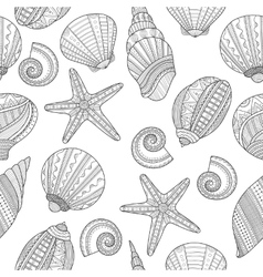 Sea shells Black and white seamless pattern for vector