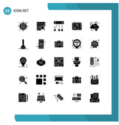 Set 25 solid glyphs on grid for cloud disco vector