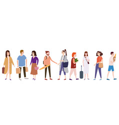 set a crowd people characters go about their vector image