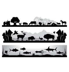 set black and white landscapes wildlife farm vector image