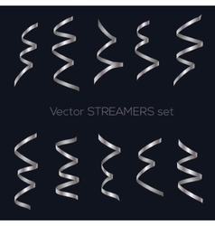 Set of golden flat streamers isolated on dark vector image