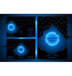 Set of invitations for halloween vector image