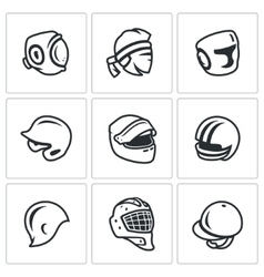 Set of Sports hat cap and headband Icons vector image