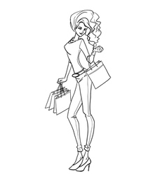 Sexy elegant woman with bags after shopping vector image