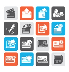 Silhouette credit card POS terminal and ATM icons vector