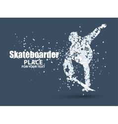 Skateboarder jump on skateboard particle vector