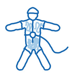 Skydiver with insurance doodle icon hand drawn vector